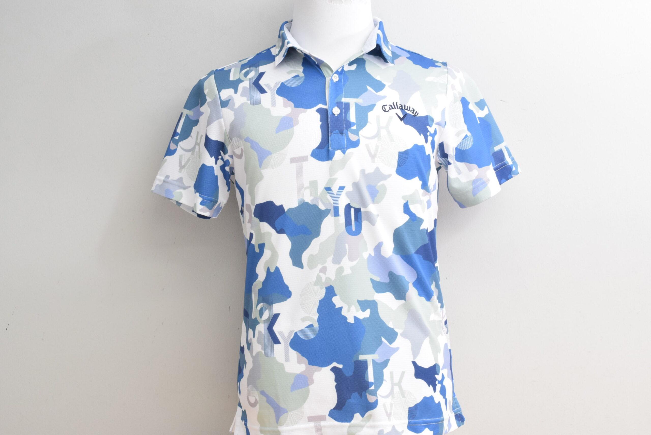 キャロウェイ メンズ ポロシャツ ブルー系 マッププリント Lサイズ