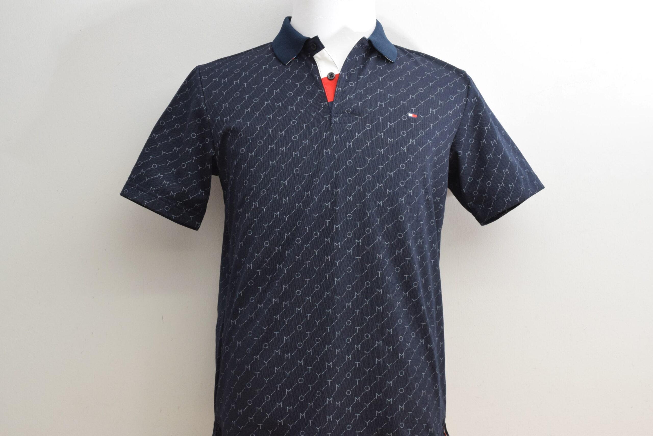 トミーヒルフィガー メンズ ポロシャツ メッシュ ネイビー ロゴ柄 Lサイズ