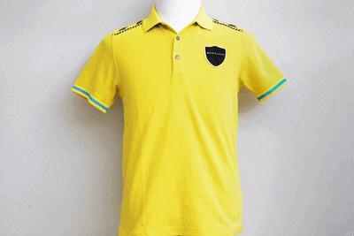 マークアンドロナ メンズ ポロシャツ イエロー Lサイズ 男性用 トップス 胸ワッペン