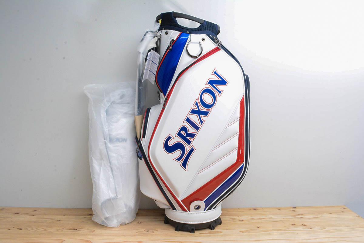 ダンロップ スリクソン メンズ キャディバッグ ホワイト/レッド 10型 47インチ対応