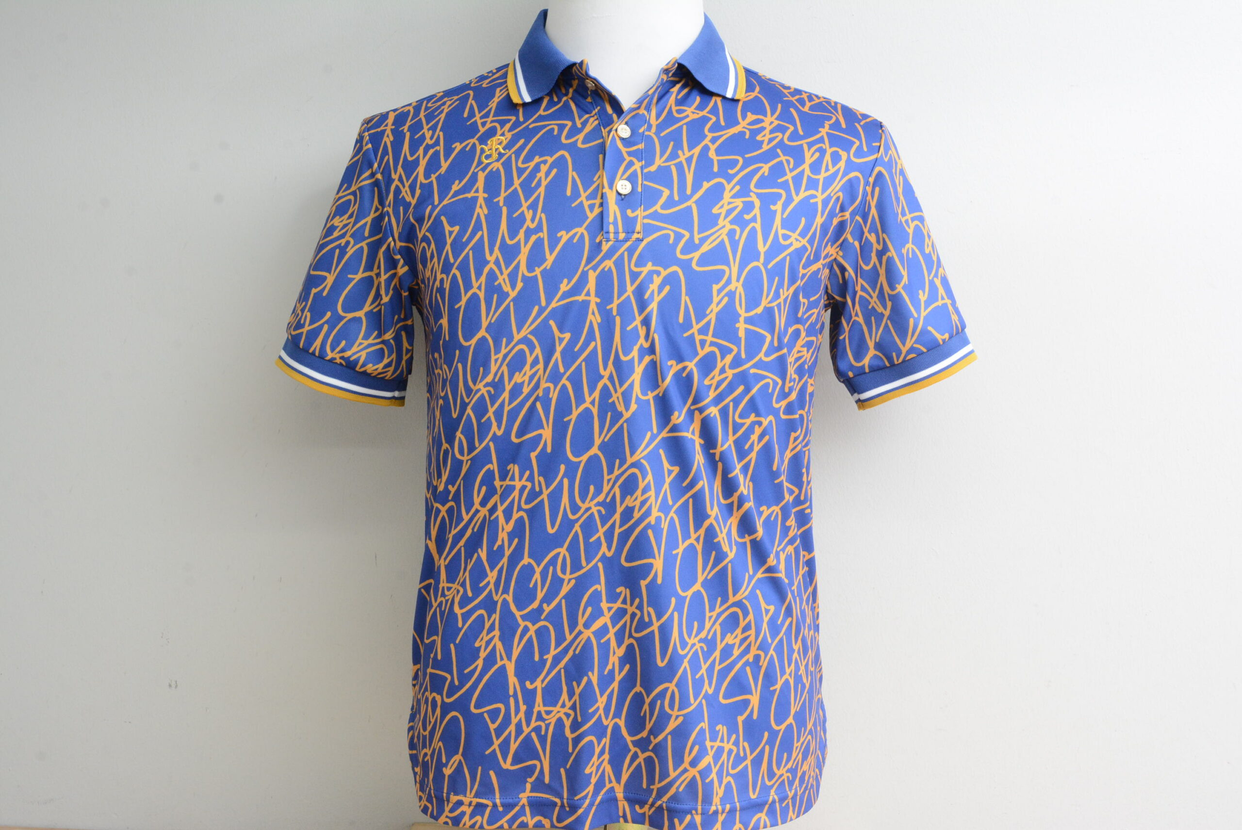 レザレクション メンズ ポロシャツ 半袖 ブルー 総柄 Mサイズ